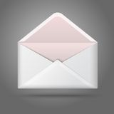 Пустой конверт вектора раскрытый белизной Изолированный дальше Стоковые Фото