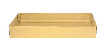 Пустой коричневый бумажный поднос изолированный на белизне Стоковое Фото