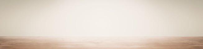 Пустой космос с стеной и деревянным полом Стоковое Изображение RF