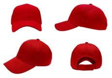 Пустой красный взгляд бейсбольной кепки 4 Стоковое Фото