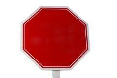 Пустой красный знак стопа на белой предпосылке добавляет текст или график Стоковое Изображение RF