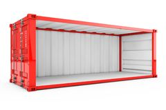 Пустой красный контейнер для перевозок с, который извлекли бортовой стеной renderin 3D иллюстрация штока