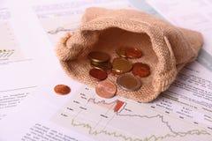 Пустой мешок евро реднины на негожем инвестирует бумаги Стоковое Изображение RF