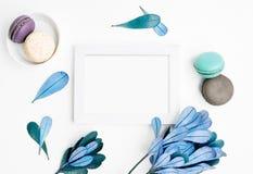 Пустой модель-макет рамки фото с macarons и листьями сини стоковые фотографии rf