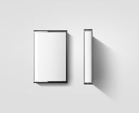 Пустой модель-макет дизайна коробки кассеты, взгляд со стороны профиля Стоковые Фотографии RF