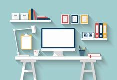 Пустой настольный компьютер монитора или компьютера на белой таблице в солнечной комнате Насмешка вектора вверх Плоский дизайн с  стоковые изображения rf