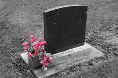 Пустой надгробный камень с цветками 2 пинка Стоковые Фото