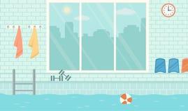 Пустой общественный бассейн с большим окном Стоковое Фото