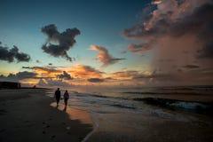 Пустой пляж на sunsent Стоковые Изображения RF