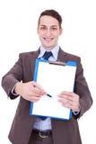 пустой показ человека clipboard дела Стоковая Фотография RF