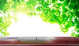 Пустой природный источник деревянного стола и зеленого цвета запачкает backgroun bokeh стоковая фотография rf