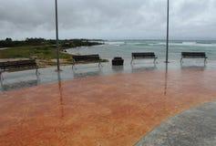 Пустой променад в урагане Ernesto Mahahual Стоковые Фото