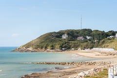 Пустой пляж Barneville Carteret, Нормандии, Франции Стоковое фото RF