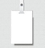Пустой реалистический значок удостоверения личности с шаблоном крышки модель-макета ленты Стоковое Фото
