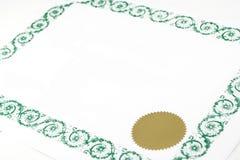 пустой сертификат Стоковая Фотография RF