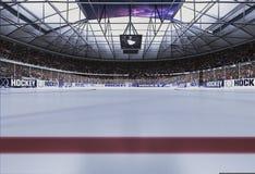 Пустой стадион хоккея с небом вечера Стоковая Фотография