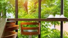 Пустой стул на кофейне с теплой стеной солнечного света и травы с зеленым деревом Стоковые Фото