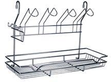 Пустой сушильщик утварей кухни на белизне стоковое фото rf