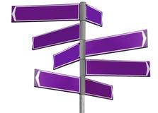 пустой фиолет знака направления Стоковое Изображение RF