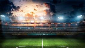 Пустой футбольный стадион в световых лучах на иллюстрации ночи 3d иллюстрация штока