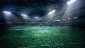 Пустой футбольный стадион в световых лучах на иллюстрации ночи 3d стоковая фотография