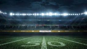Пустой футбольный стадион в световых лучах на переводе ночи 3d стоковые изображения rf