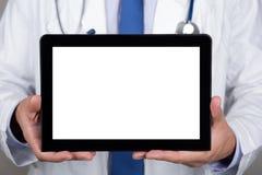 пустой цифровой ПК доктора показывая таблетку Стоковое Изображение