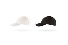 Пустой черно-белый комплект модель-макета бейсбольной кепки, взгляд со стороны профиля Стоковое фото RF
