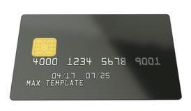 Пустой черный шаблон кредитной карточки на белой предпосылке - переводе 3D Стоковые Изображения RF
