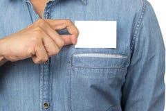 пустой человек удерживания визитной карточки Стоковая Фотография RF