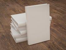 Пустой шаблон модель-макета белой книги на деревянной предпосылке Стоковое фото RF