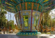 Пустой carousel в парке Стоковая Фотография
