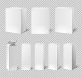 Пустые белые коробки Прямоугольная упаковка продукта медицины и косметики изолированные вектором модель-макеты коробки 3d Стоковое Изображение