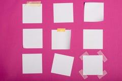 Пустые белые липкие примечания изолированные на пинке Стоковое Фото