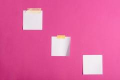 Пустые белые липкие примечания изолированные на пинке Стоковая Фотография