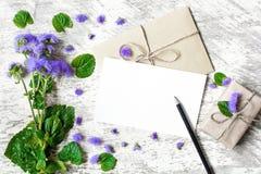 Пустые белые поздравительная открытка и конверт с фиолетовыми wildflowers Стоковое Изображение RF