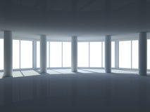 пустые большие окна комнаты Стоковая Фотография RF