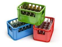 Пустые бутылки в клети strage для бутылок Стеклянный рециркулировать бесплатная иллюстрация