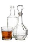 Пустые бутылки коньяка на белизне Стоковое фото RF