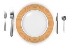пустые вилки изолировали ложку плиты ножа Стоковые Фото