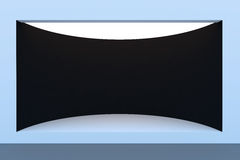 Пустые внешняя витрина магазина или подиум круга с освещением и большим окном Стоковое Фото