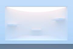 Пустые внешняя витрина магазина или подиум круга с освещением и большим окном Стоковое Изображение RF