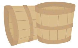 Пустые деревянные ведра Стоковые Фотографии RF