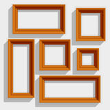 Пустые деревянные картинные рамки Брайна изолированные на Стоковое фото RF