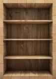 Пустые деревянные книжные полки перевод 3d Стоковая Фотография