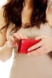 пустые детеныши женщины бумажника Стоковая Фотография