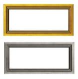 Пустые золотистые и серебряные изолированные картинные рамки Стоковые Фото