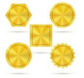 Пустые золотые значки металла Стоковое Изображение