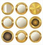 Пустые золотые значки металла Стоковые Фотографии RF