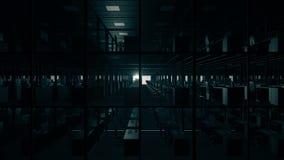 Пустые кабины офиса ночи сток-видео